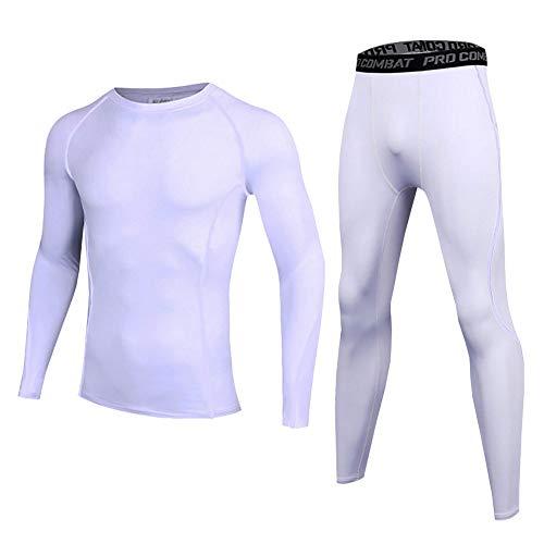 LPATTERN Kinder 2tlg Sport Bekleidungsset- Jungen/Mädchen Trainingsanzug Kompressionsanzug Funktionsset Sport-Unterwäsche(Langarmshirt+Lang Hose), Weiß, 152/158(Label:M)
