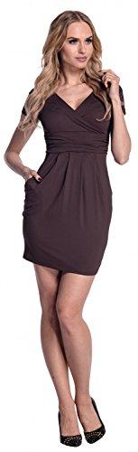 Glamour Empire. Damen Jersey Gerafftes Tulpenkleid mit Taschen Gr. 38-44. 806 Schokolade