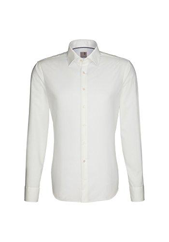 Bügelfreies Herren Slim Fit Hemd in verschiedenen Farben, Marke Seidensticker Schwarze Rose (01.021000) Ecru(21)