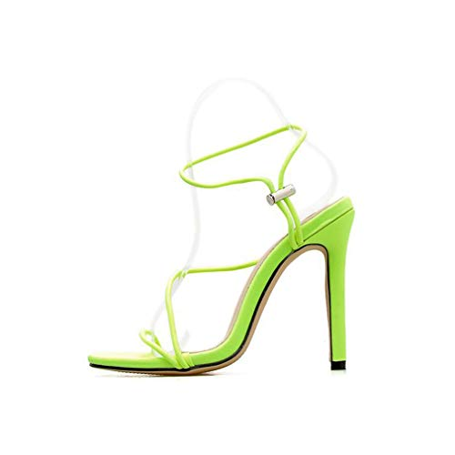 YAN Womens Stiletto High Heel Strappy Sandals Thin Belt Ultra High Heels Ladies Party Prom Shoes Green Black Orange,Green,36 Stiletto High Heel Strappy Sandal