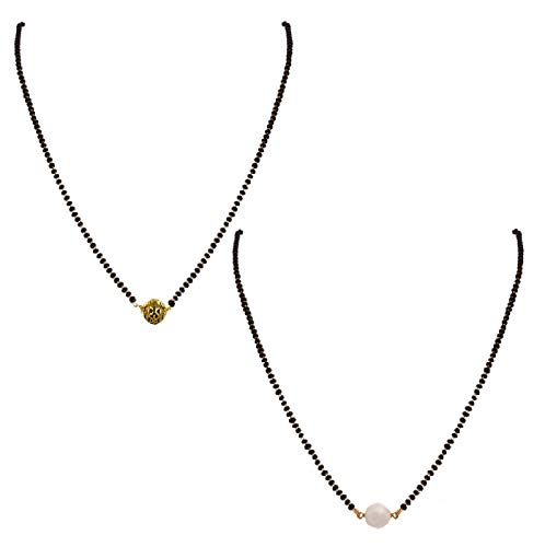 VAMA Fashions 1 Gm Gold Plated Black Beads Mangalsutra for Women