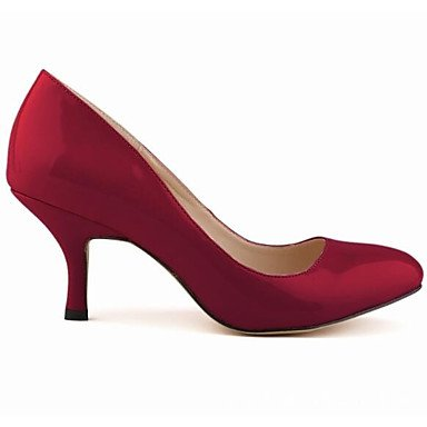 SHOESHAOGE Chaussures Pour Femmes En Cuir De Brevet Printemps Automne Talon Aiguille Talons Pompe De Base Pour Un Vin Rouge Rose Bleu Rouge Noir Vin