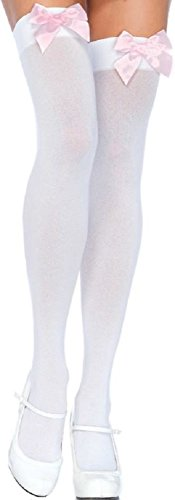 Leg Avenue Damen halterlose Strümpfe rosa mit rosa Schleifen Einheitsgröße ca. 38 bis 40