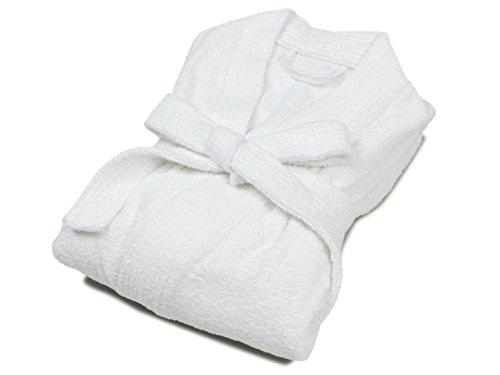 Unbekannt Frottee-Bademantel - Unisex - weiß und kochecht - Hotelqualität - in 3 verschiedenen Qualitäten - Kimonostyle mit Schalkragen, Premium [600 GSM], XL - Schalkragen Frottee-bademantel