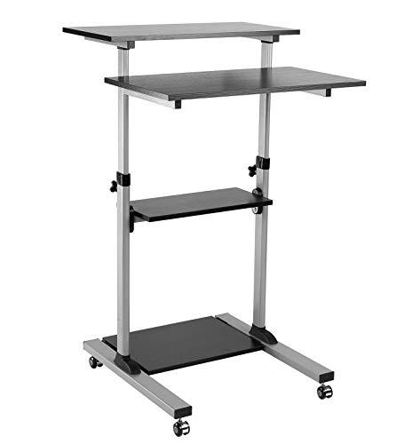 ROLINE Höhenverstellbarer Steharbeitsplatz I Rollbarer Computerschreibtisch I Höhe 81-137,8 cm I Schwarz/Grau