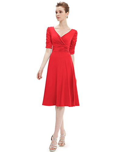 Ever Pretty Robe d¨¦contract¨¦e col en V manches 3/4 Extensible 03632 Rouge