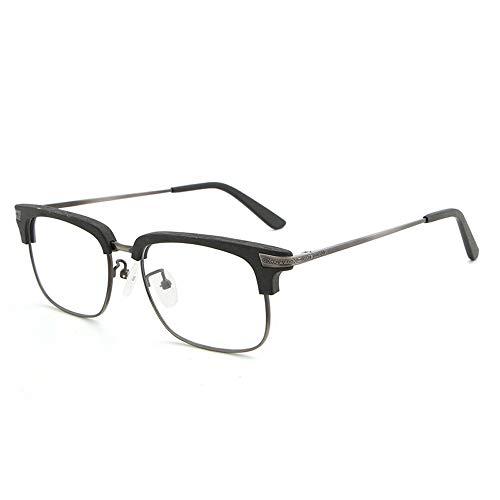Easy Go Shopping Männer Und Frauen Holzmaserung Fashion Classic Plain Brille Retro Half Frame Brille Für Sonnenbrillen und Flacher Spiegel (Color : Schwarz, Size : Kostenlos)