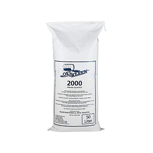Ölbindemittel Oel-Kleen 2000, Ölbinder Typ III R/SF, feinkörnig, auf Polyurethan Basis, für Innenanwendung geeignet, 50 Liter, weiß