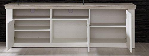furnline Wohnzimmer Kiefer Struktur Decor Wohnwand, Eiche San Remo, weiß, Set von 3 - 3