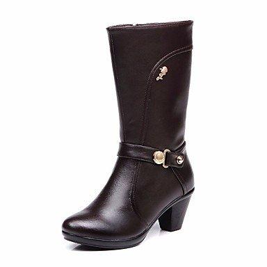 Rtry Chaussures Femme En Cuir Véritable Hiver Confort Bottes Chunky Talon Bout Rond Mi-mollet Bottes Pour Casual Noir Brun Us5.5 / Eu36 / Uk3.5 / Cn35
