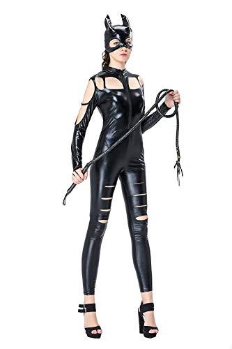 Cat Kostüm Lack Sexy - XSQR Sexy Overall Lack Anzug Wetlook Catsuit Bodys Dessous Nachtkleid Party Clubwear Damen Catlady Kostuem Cat Suit