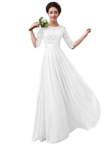 aff7f01e9 Women Crochet Half Sleeve Crochet Lace Top Wedding Bridesmaid Gown Prom  Dress