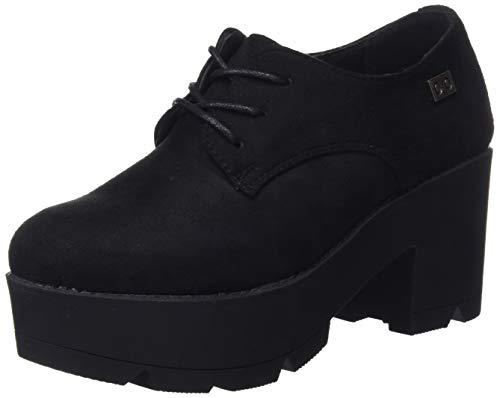 COOLWAY Nanny, Zapatos Cordones Oxford Mujer, Negro