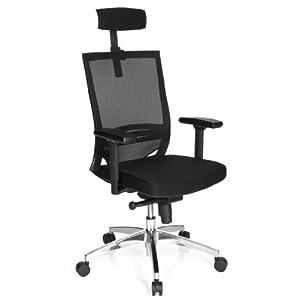 hjh OFFICE 657260 silla ejecutiva PORTO MAX HIGH malla/tela negro silla ergonomica alta con reposacabezas inclinable