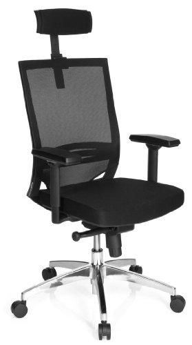 hjh OFFICE 657260 Bürostuhl Drehstuhl PORTO MAX HIGH Netzstoff schwarz/schwarz, strapazierfähige Polsterung, langlebiger Netzrücken, höhenverstellbare Armlehnen, Schreibtischstuhl ergonomisch