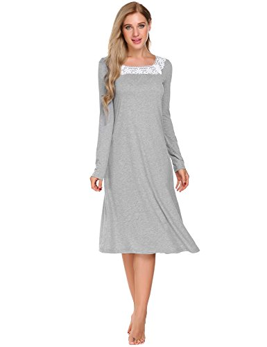Weiche Damen-nachthemd (ADOME Damen Nachthemd Sleepwear Langarm A-Linie Casual Nachtkleid Nachtwäsche lang Spize Ausschnitt Herbst Unterkleid, Grau, EU 42(Herstellergröße:XL))