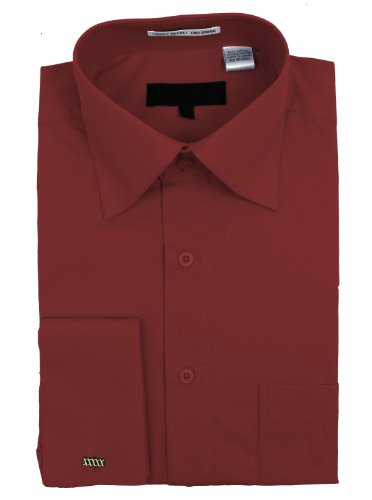 Men's rides et mélange de coton-Robe chemise de manchette Orange - Orange