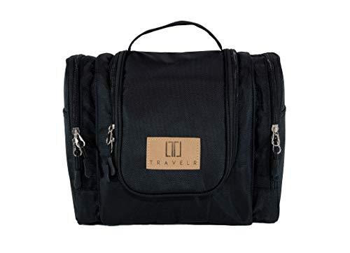 TRAVELR Premium Kulturbeutel XL | Große Kulturtasche zum Aufhängen | Über 8 Liter Volumen | Für Damen und Herren (Schwarz)