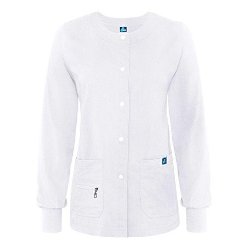 Adar Indulgence Womens Jr Fit Multi Pocket Warm-Up Scrub Jacket - 4216 - White - - White Scrub-jacke