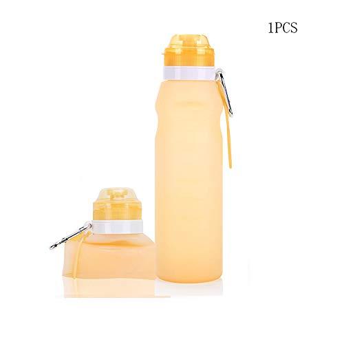 Modenny Falten Sie bewegliche Bewegungswasserflasche-Sportcamping-teleskopische Schale auslaufsicherer im Freienreitbecher für das Reise-Yoga, das (Color : Yellow)