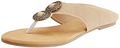 Mochi Women's Beige Leather Fashion Sandals - 6 UK (32-7686)