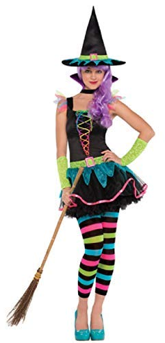 Neon Witch 5 Piece Halloween TV Book Film Carnival Fancy Dress Costume Outfit 10-16 Years (12-14 Years) ()