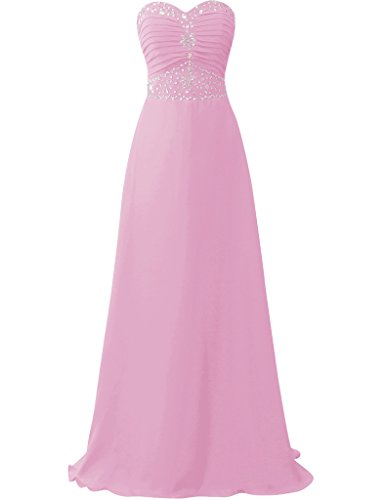JAEDEN Traegerlose Chiffon Ballkleider Lang Brautjungfernkleid Abendkleid Festkleid Rosa