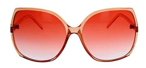 Große Damen Retro Sonnenbrille Vintage Butterfly Stil 60er 70er Jahre JK84 (Mango transparent)