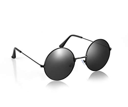 Komonee John Lennon Stil Black Linse Runden Sonnenbrille UV400 Schutz