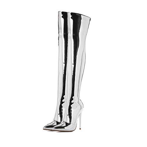tilett High Heels Über Das Knie Spitz Sexy Schwarz Oberschenkel Hohe Stiefel Größe,Silver-EU:38=7.5B(M) US ()