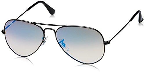 Ray-Ban Unisex Sonnenbrille Mod. 3025 Gestell: schwarz, Gläser: blau Gradient, verspiegelt 002/4O), Large (Herstellergröße: 55)