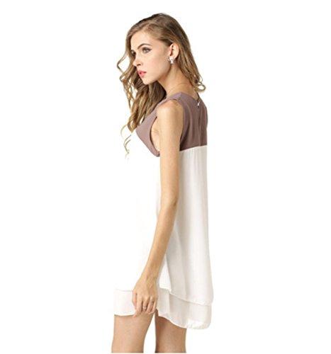 HYHAN Robes mode féminine manches épissage à double mousseline de couleur jupe de plage irrégulière printemps et en été spelling