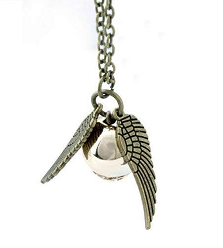 FASHION JEWERLY Collar, diseño de Snitch Dorada, con Perla Dorada y alas y Cadena Plateadas