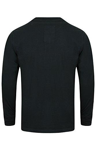 Herren Jersey Oberteil Tokyo Laundry langärmliges T-Shirt Y Hals Baumwolle Freizeit marineblau - 1u9615