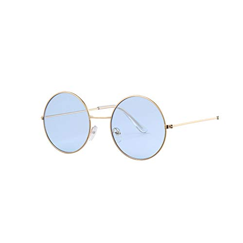 Sport-Sonnenbrillen, Vintage Sonnenbrillen, Fashion Bule Round Sunglasses Women Brand Designer Luxury Sun Glasses For Women Cool Retro Female Sunglasses Oculos Gafas Gold Blue