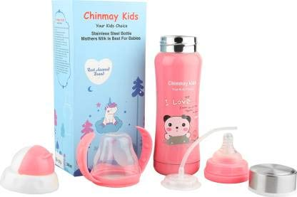 Ineffable 3 in 1 Multifunctional Baby Steel Feeding Bottle for Hot and Cold Milk (Pink, 240 ml)