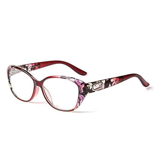Z&HA Floral Mode Lesebrille, Retro PC Rahmen HD Harz Objektiv Brille geeignet für Männer und Frauen lesen Zeitungen vor dem Fernseher Lesebrille + 100 bis +400,C2,+100