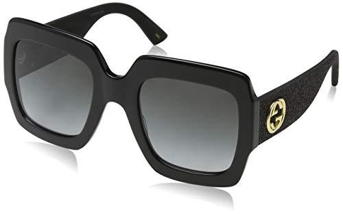 Gucci Damen GG0102S 001 Sonnenbrille, Schwarz (Black/Grey), 54
