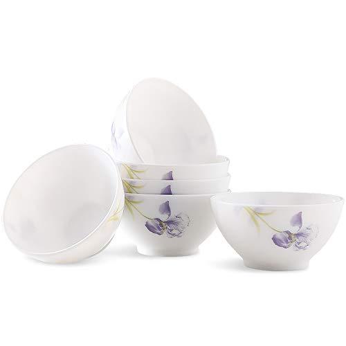 RKY Bol- Ensemble de porcelaine de jade blanche chinoise 6 ensembles de bol de riz en céramique petit bol 5 pouces /-/ (Couleur : C)