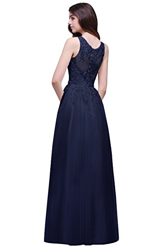 Babyonline- 2017 Damen Elegant Ärmellos Spitze Brautjungfernkleid Applique Tüllkleid Abendkleid lang 32-46 Navyblau