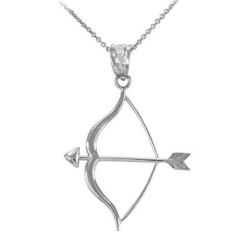 Damen Anhänger Halskette 925 Sterling Silber Pfeil und Bogen (Kommt mit einem 45cm Kette)