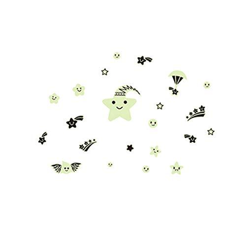 Lächeln Sterne Die Sterne Leuchtende Fluoreszenz Aufkleber Kinderzimmer Schlafsaal Schmuck Wand Stick Ein Permanent Glow