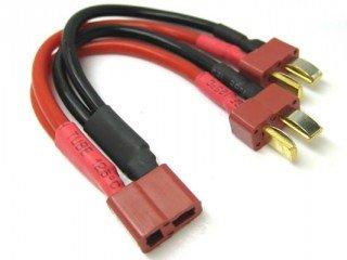 VRX Connettore T-Plug Femmina con 2 T-Plug Maschio per collegare Due batterie in Parallelo 1pz.