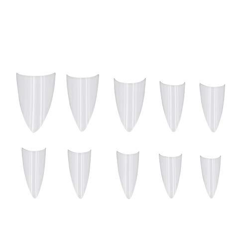 Ebanku 500 Stücke Stiletto Falsche Nagelspitzen, Scharfes Ende Acryl Gefälschte Nägel, 10 Größen Halbe Abdeckung Künstliche Nägel für Nagelstudios oder DIY Kunst zu Hause
