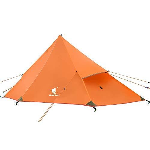 GEERTOP 20D Ultralight 1Person 3Saison Rucksackreisen Zelt für Camping Wandern Klettern (Pole Nicht Enthalten)–Orange/Außenzelt + Innenzelt