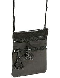Pochette de sécurité LEAS, en cuir véritable, noir - ''LEAS Travel-Line''