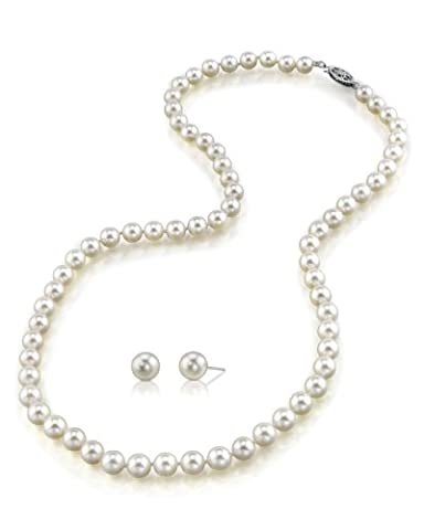 7-8mm White Freshwater Cultured Pearl Necklace & Matching Earrings Set, 17