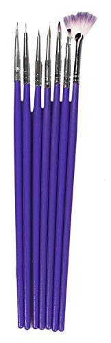 7x Acryl (COM-FOUR® 7-teiliges Acryl Gelpinsel für Fingernägel Pinsel Set Lila)