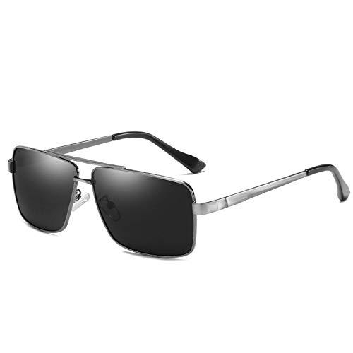 LKVNHP Herren Polarisierte Sonnenbrille Für Mann Fahren Rechteck Hd Sonnenbrille 144Mm Übergroße Breites Gesicht Antireflexion Uv400Grau Schwarz