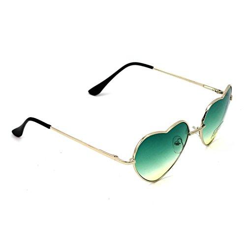 MMRM 1X Frauen großen Oversized Sonnenbrille in Herzform der mode cute Brille (grün)